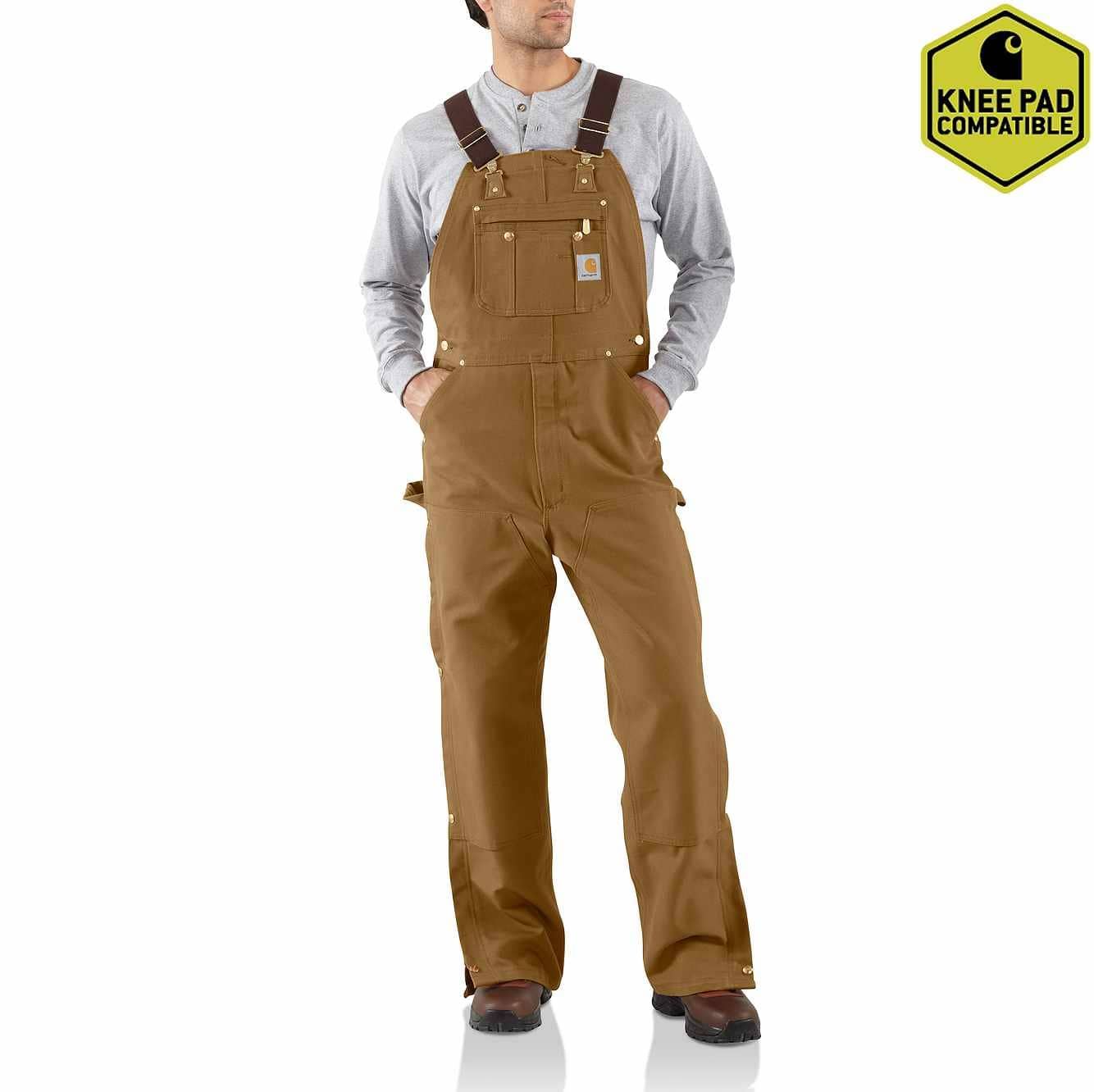 Picture of Duck Zip-To-Thigh Bib Overall/Unlined in Carhartt Brown