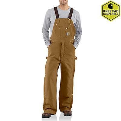 Carhartt Men's Carhartt Brown Duck Zip-to-Thigh Bib Overall/Quilt Lined - front