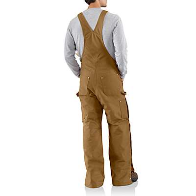 Carhartt Men's Carhartt Brown Duck Zip-to-Thigh Bib Overall/Quilt Lined - back