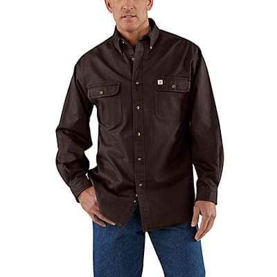 Carhartt Men's Dark Brown Sandstone Twill Shirt - front