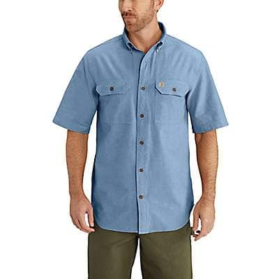 Carhartt Men's Blue Chambray Fort Short Sleeve Chambray Shirt - front