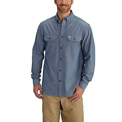 Carhartt  Blue Chambray Fort Long Sleeve Chambray Shirt - front
