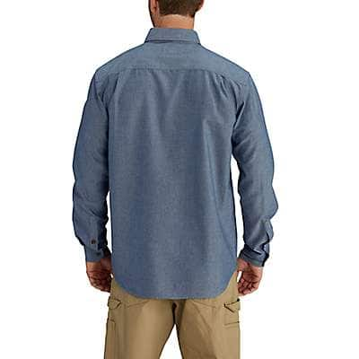 Carhartt Men's Blue Chambray Fort Long Sleeve Chambray Shirt - back