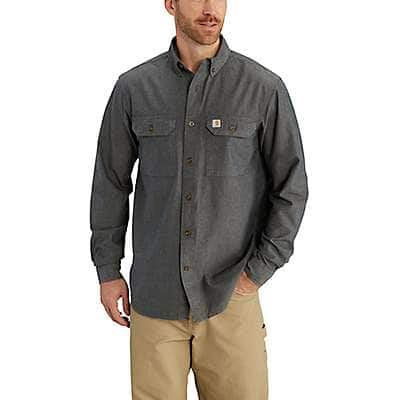 Carhartt Men's Blue Chambray Fort Long Sleeve Chambray Shirt - back
