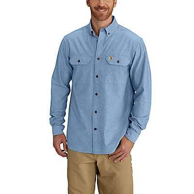 Carhartt Men's Blue Chambray Fort Long Sleeve Chambray Shirt - front