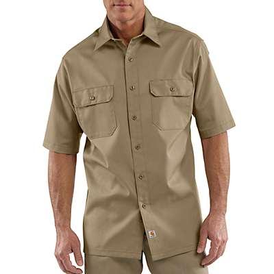 Carhartt Men's Khaki Short-Sleeve Twill Work Shirt - front