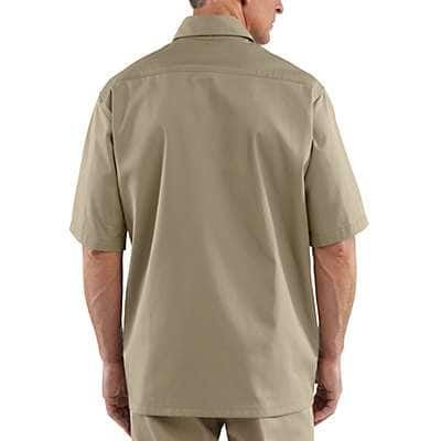Carhartt Men's Khaki Short-Sleeve Twill Work Shirt - back