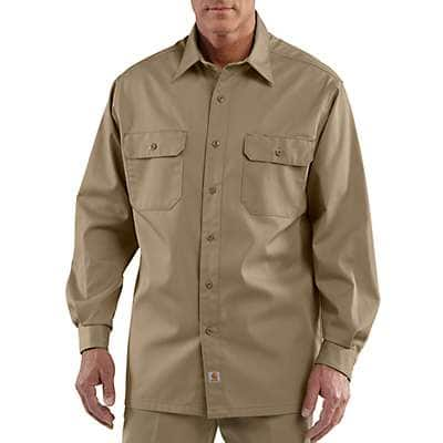 Carhartt Men's Khaki Long-Sleeve Twill Work Shirt - front