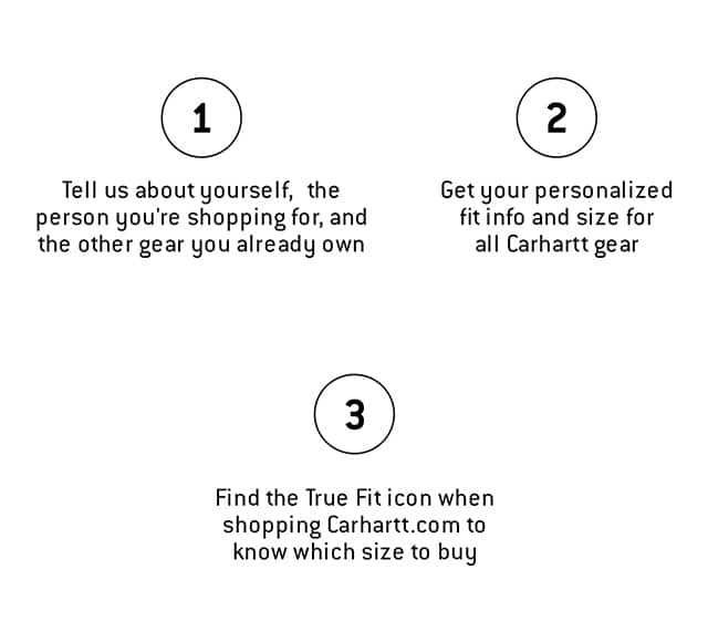 1.  Tell us about yourself, the person you're shopping for, and the other gear you already own 2. Get your personalized fit info and size for all Carhartt gear 3. Find the True Fit icon when shopping Carhartt.com to know which size to buy