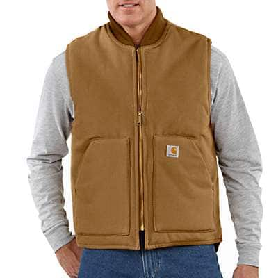 Carhartt Men's Carhartt Brown Duck Vest / Arctic-Quilt Lined - front