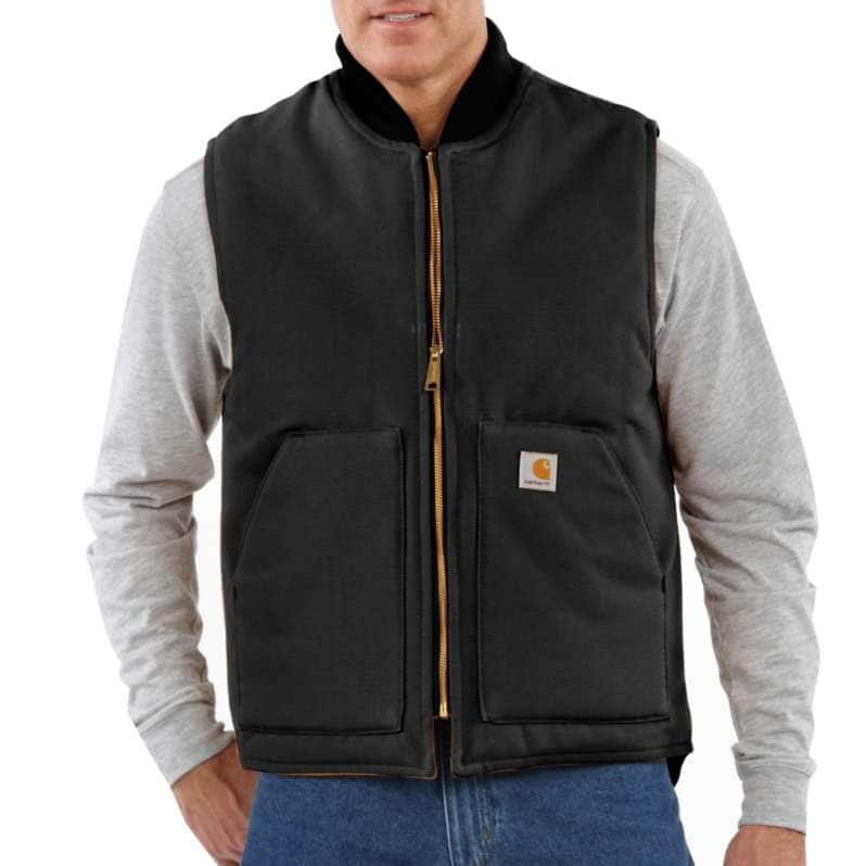 Carhartt  Black Relaxed Fit Firm Duck Insulated Rib Collar Vest