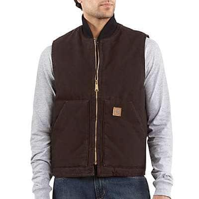 Carhartt Men's Dark Brown Sandstone Vest / Arctic Quilt Lined - front