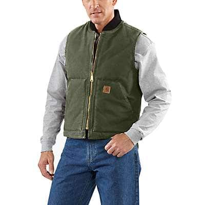 Carhartt Men's Dark Brown Sandstone Vest / Arctic Quilt Lined - back
