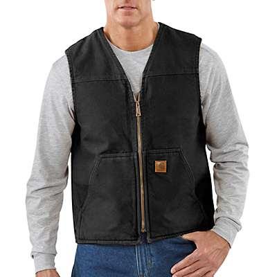 Carhartt Men's Black Sandstone Rugged Vest / Sherpa Lined - front