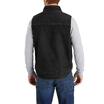 Carhartt Men's Dark Brown Sandstone Sherpa-Lined Mock-Neck Vest - back