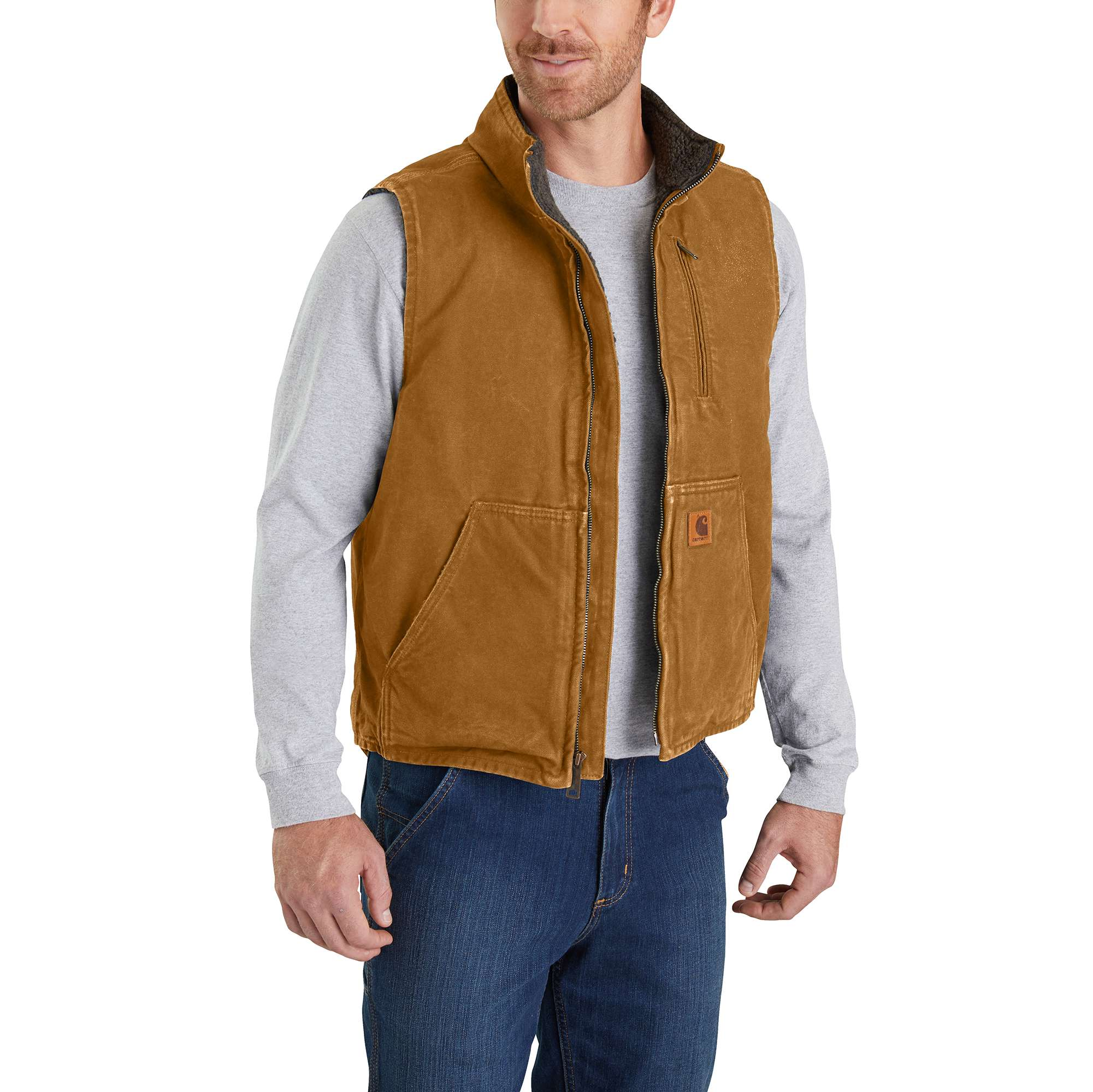 4632834afafb03 Men s Sandstone Sherpa-Lined Mock-Neck Vest V33