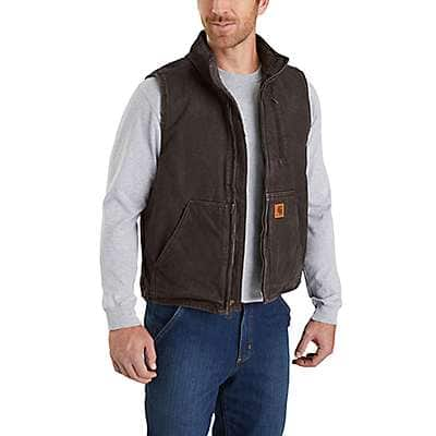 Carhartt Men's Dark Brown Sandstone Sherpa-Lined Mock-Neck Vest - front