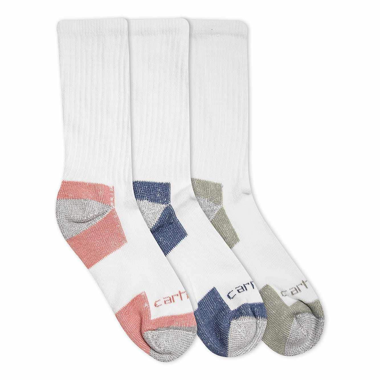 Picture of Cotton Crew Work Sock, 3 Pack in White Assorted