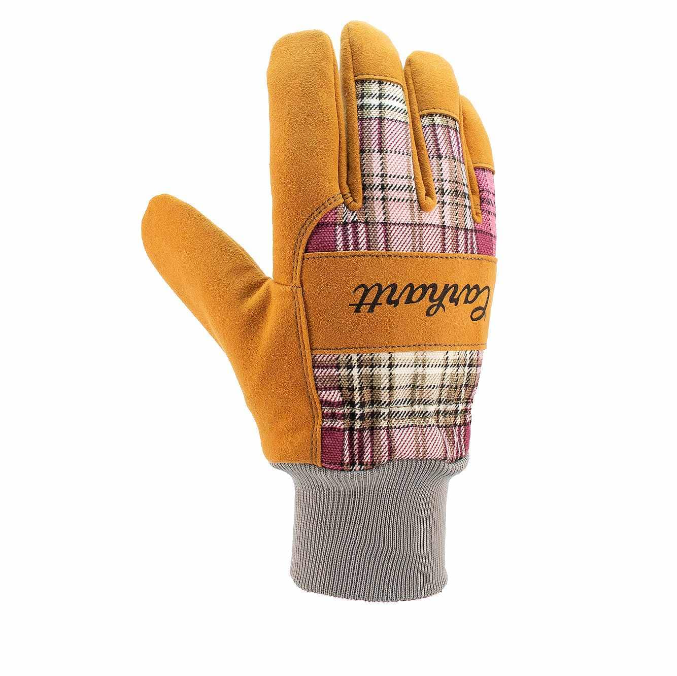 Picture of Synthetic Suede Knit-Cuff Work Glove in Wild Rose Plaid