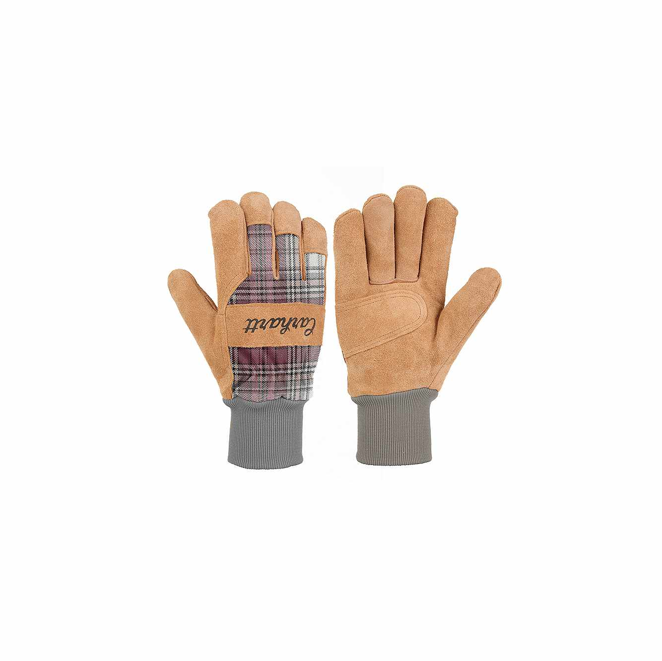 Picture of Suede Knit-Cuff Work Glove in Wild Rose Plaid