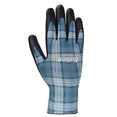 Carhartt Women's Ocean Blue Plaid Plaid All-Purpose Nitrile Grip Glove - front