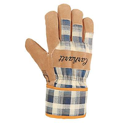 Carhartt Women's Navy Plaid Waterproof Breathable Suede Safety Cuff Work Glove - front