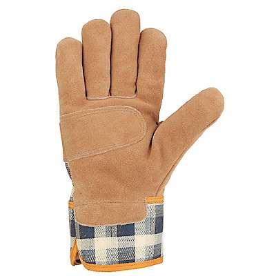 Carhartt Women's Navy Plaid Waterproof Breathable Suede Safety Cuff Work Glove - back
