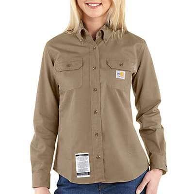 Carhartt Women's Khaki Flame-Resistant Twill Shirt - front