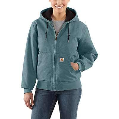 Carhartt Women's Sea Glass Sandstone Quilted-Flannel Active Jac - front