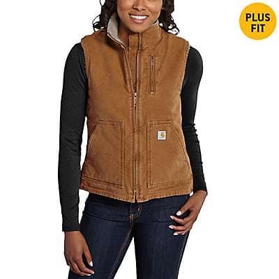 Carhartt Women's Carhartt Brown Sandstone Mock-Neck Vest/Sherpa-Lined - front