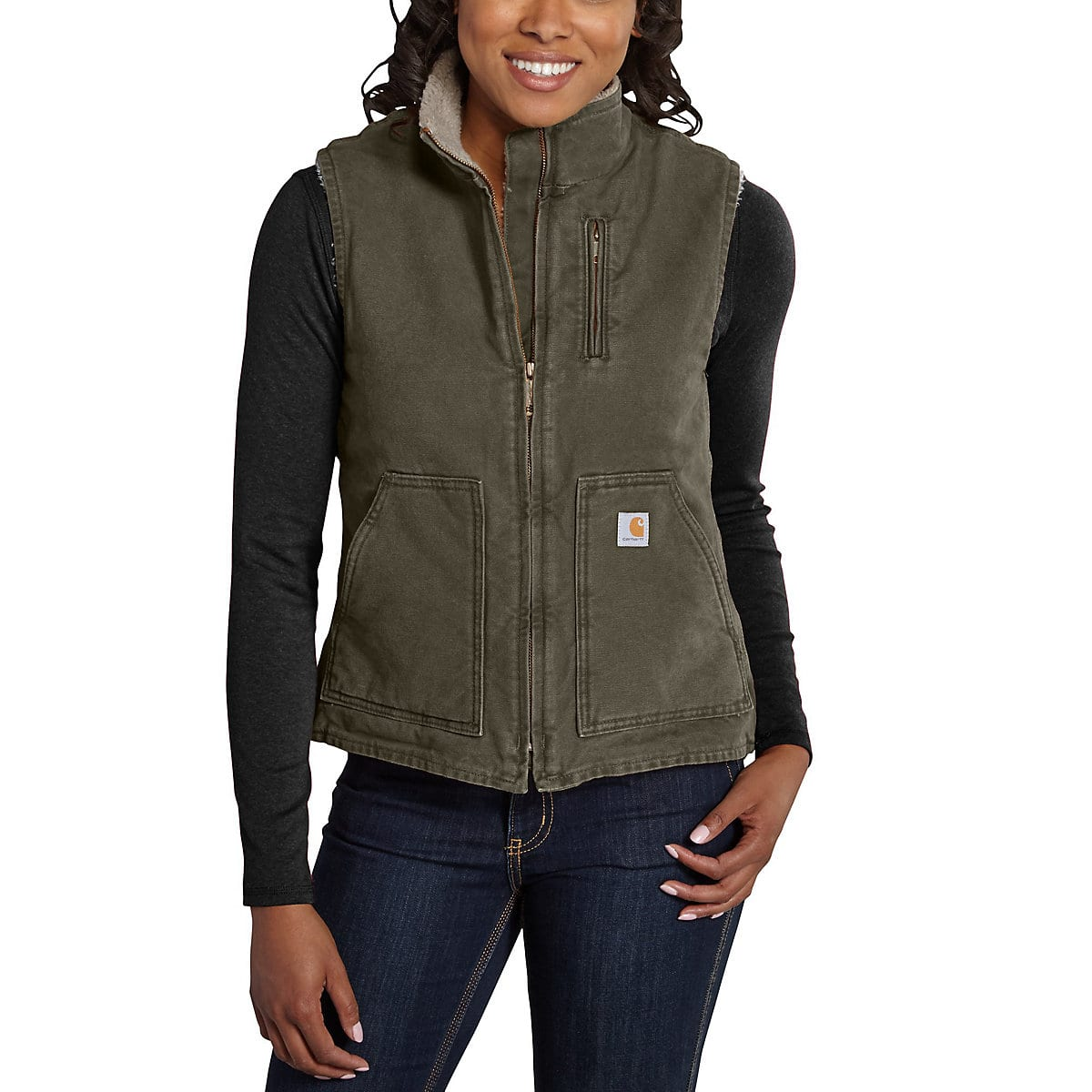 c113d3540 Women s Sandstone Mock-Neck Vest Sherpa-Lined WV001