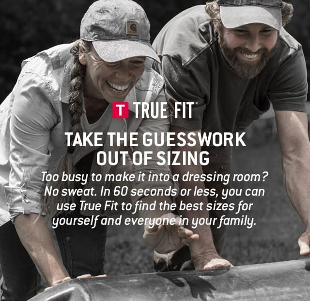 True Fit, Too busy to make it into a dressing room? No sweat. In 60 seconds or less, you can use true fit to find the best sizes for yourself and everyone in your family