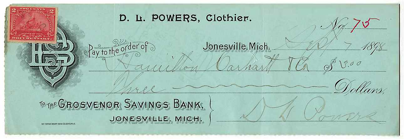 Check paid to Carhartt by Powers Clothing, 1898