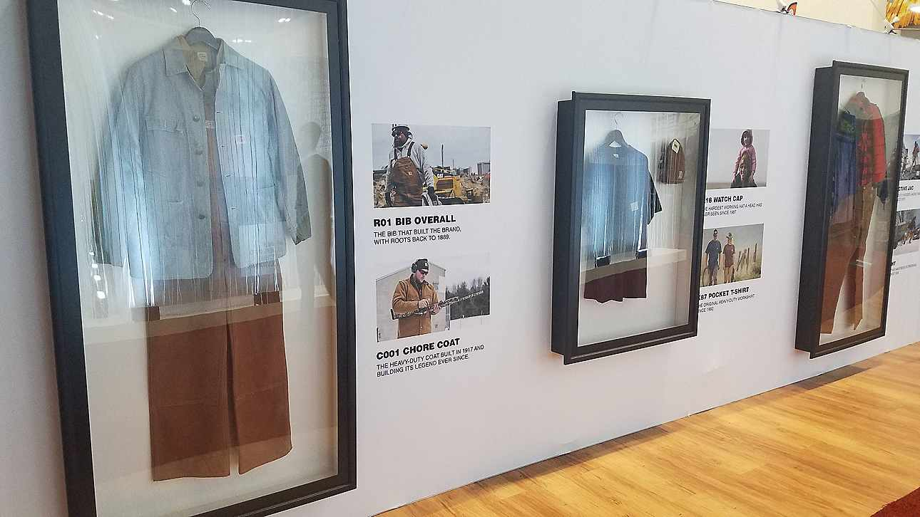 Iconic Carhartt products on display at the Outdoor Retailer show (Denver, CO), January 2019