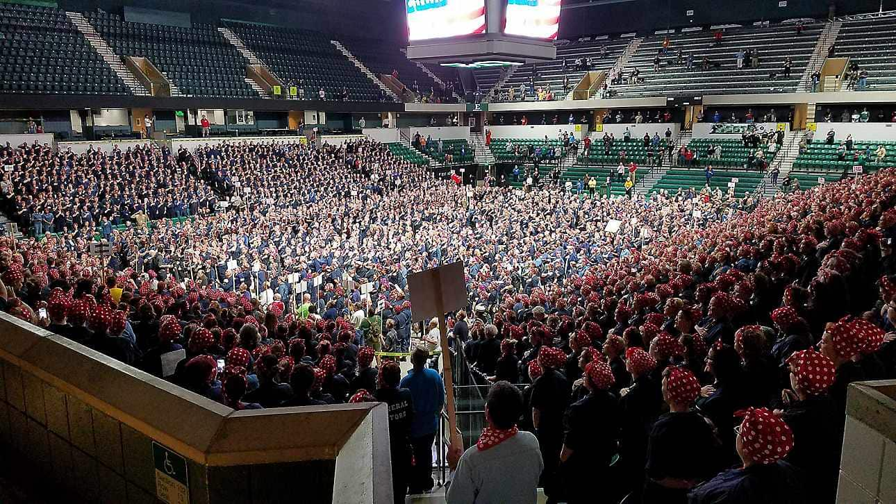 3,734 Rosie the Riveters (Guinness record) at Eastern Michigan University arena, October 2017