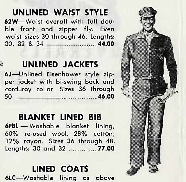 Brown duck double knee waist overall, 1957