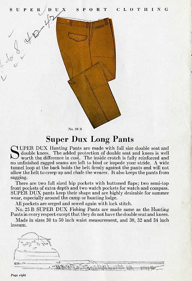 Super Dux pants offerings pg 1, 1930